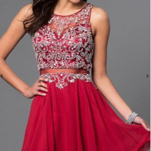 Mock Two-Piece Short A-Line Homecoming Dress